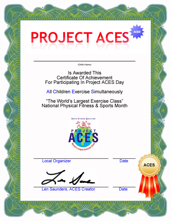 Project ACES Worlds Largest Exercise Class – Computer Certificate Format